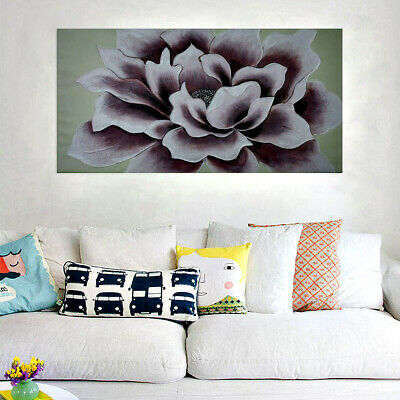 Hand Painted Art Canvas Oil Painting Stretched Home Decor Framed Peony Flower
