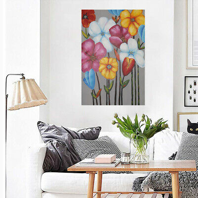 Modern Hand Painted Oil Painting Flowers Framed Canvas Wall Picture Home Decor