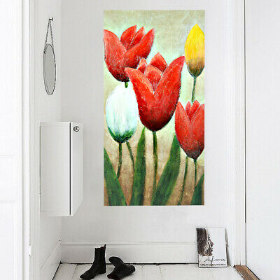 Framed Abstract Art Oil Painting Canvas Hand Painted Home Decor Garden Tulip