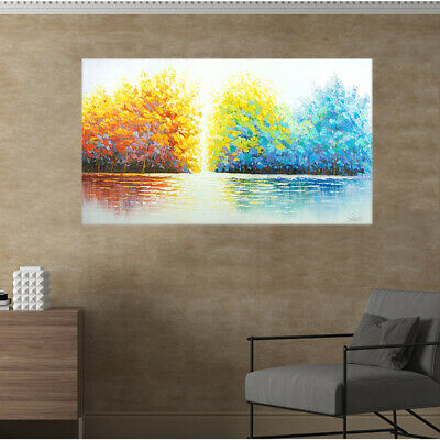 Hand-Painted Oil Painting - Trees  Modern Abstract Wall Art Decor With Frame