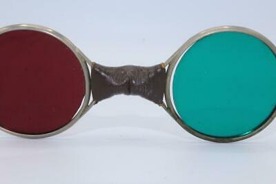 Vintage  Red Green Lens Sunglasses Hippy Steam Punk  Nice No Reserve
