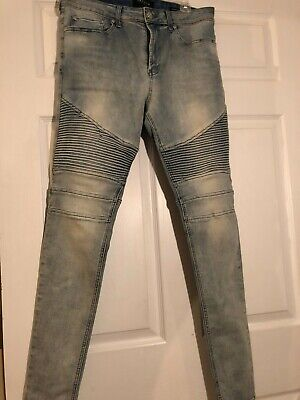 00d21f8a Pacsun Mens Biker Jeans (34 x 32) Light Wash Active Stretch Stacked Skinny
