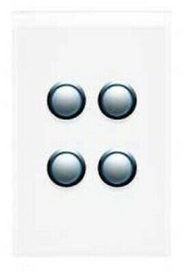 Clipsal 4000-SERIES SATURN SWITCH COVER 4-Gang Vertical PURE WHITE *Aust Brand