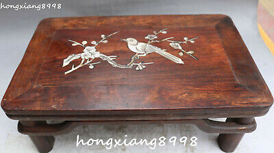 """12""""Chinese Huanghuali Wood Shell Bird Birds Plum Blossom Table Desk Tablet Chair"""