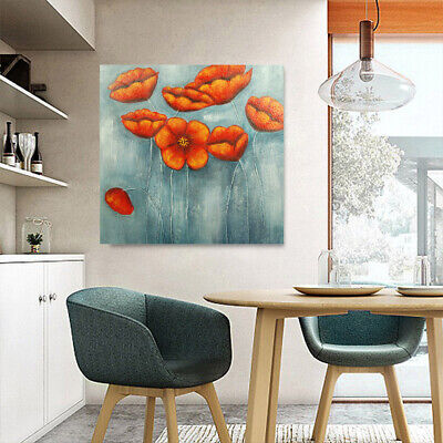 Hand Painted Abstract Art Canvas Oil Painting Wall Decor Red Flowers (Framed)