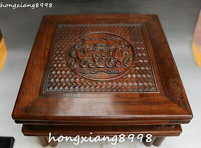 China Ancient Huanghuali Wood Dragon Dragons Pixiu Beast Table Desk Tablet Chair