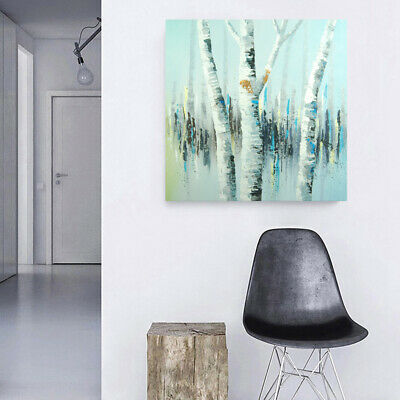Abstract Hand Painted Art Canvas Oil Painting Wall Decor Framed White Birch