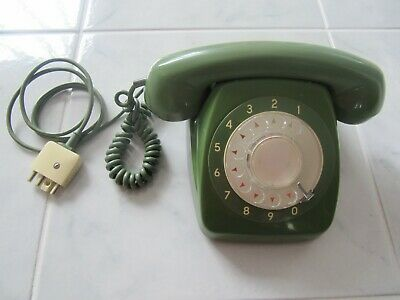 Vtg Retro 1970'S Rotary Dial Telecom Telephone Green Collectable Exc Cond