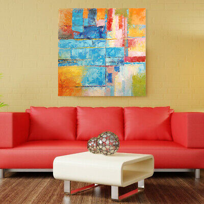 Hand Draw Modern Abstract Wall Art Oil Painting on Canvas : Color Combo Framed