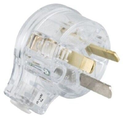 Clipsal REWIREABLE PLUG 10A 230V 3-Pin Safety, Angled Side Entry TRANSPARENT