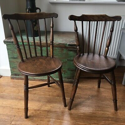 Similar Pair Antique Victorian Wooden Penny Dining Chairs, up to 6 Available