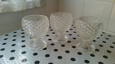 Vintage AVON 1950s Candle Holder Glass Crystal Diamonds Collectable Set of 3