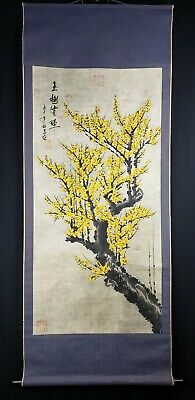 Large Antique Chinese Scroll Painting On Paper With Seal Marks And Calligraphy