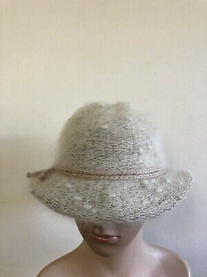 Women's Furry Cream Coloured Cloche Hat  Angora Wool Blend With Fawn Ribbon