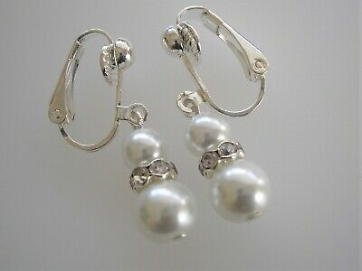 Colored Pearl & Diamante Drop Clip-on Earrings for women girls Bridesmaids 57W