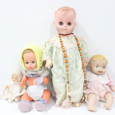 4x Assorted Size Baby Dolls Hard Plastic Soft Vinyl Made In China Taiwan #710