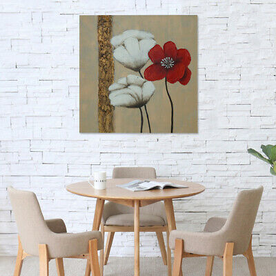 77x77cm Framed Hand-painted Abstract Oil Painting Art Stretched Canvas Poppies