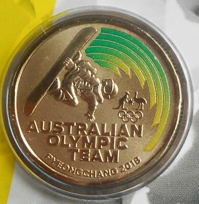 Pyeonchang 2018 Australian Olympic Coin 2018 $1 Coloured Frosted UNC