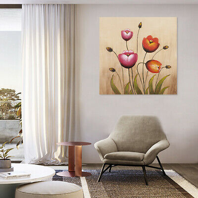 Modern Hand Painted Abstract Oil Painting Wall Art Home Decor Tulips Framed