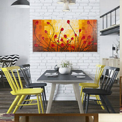 Wood Frame Red Flowers Pattern Modern Art Hand Painted Oil Painting Wall Decor