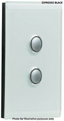 Clipsal SATURN GRID & PLATE ASSEMBLY 2-Gang Switch/Push Button ESPRESSO BLACK