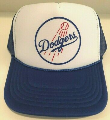 63d662f8 LOS ANGELES DODGERS Baseball Foam Mesh SnapBack Trucker Hat Vintage Dodgers  Logo