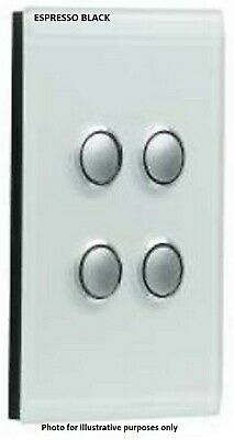 Clipsal SATURN GRID & PLATE ASSEMBLY 4-Gang Switch/Push Button ESPRESSO BLACK