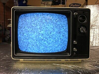 VINTAGE 1970s PYE 12G15 MONOCHROME AC/DC PORTABLE BLACK & WHITE TV 📺 TELEVISION