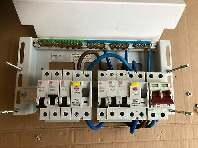 wylex squeleton mantel fuse board box 8 way main switch dual rcd & breakers  #b49