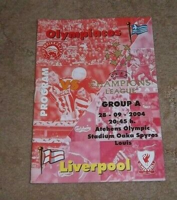 28-9-2004 Champions League Olympiacos v Liverpool Winners Programme Original