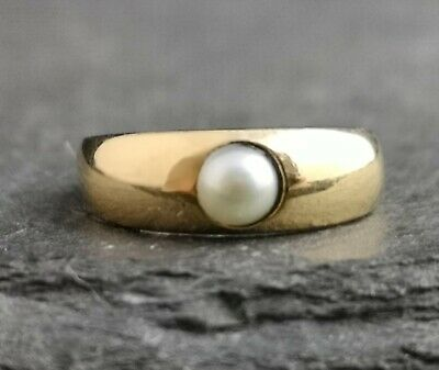 Antique 18ct gold pearl solitaire ring, Victorian gold bamd