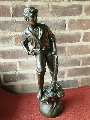"Vintage Spelter Metal Tall 20"" Fisherman With Net Figure Figurine Bronze Effect"