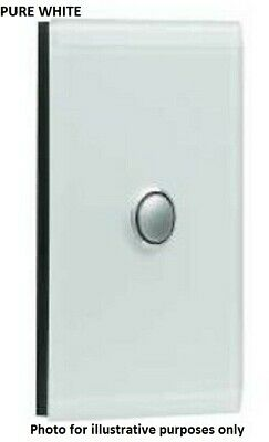 Clipsal SATURN SERIES GRID & PLATE ASSEMBLY 1-Gang Switch/Push Button PURE WHITE