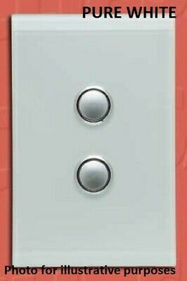 Clipsal SATURN SERIES GRID & PLATE ASSEMBLY 2-Gang Switch/Push Button PURE WHITE