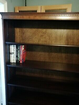 bookcase solid wood traditional style book six shelf Teak or similar wood