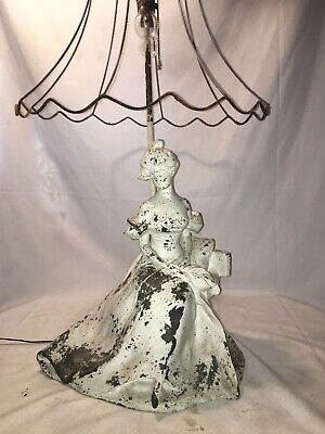 Antique Signed Lamp Woman Spelter Shabby Chic Vintage Dual Socket Shade French