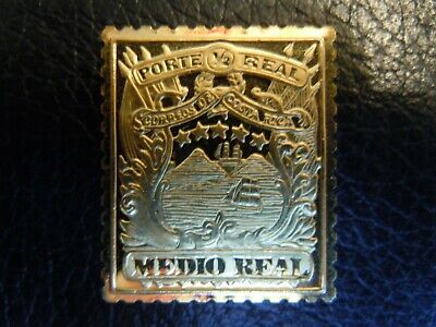 Costa Rica 1863 1/2 Real Gold Plated Silver Stamp Ingot Franklin Mint