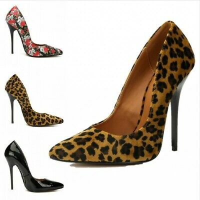 High Heel 14cm Womens Stiletto Patent Leather Pumps Pointed Toe Shoes Clubwear