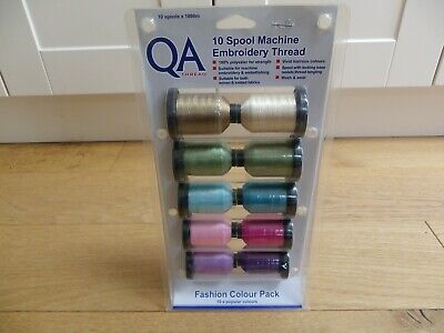 10 x Spool Machine Embroidery Threads In Fashion Colours