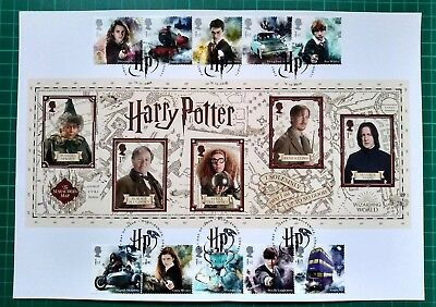 2018 Harry Potter Royal Mail Miniature Sheet A4 Poster  10 stamp FDC