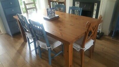 IKEA Forsby Solid Antique Stain Pine Farmhouse Dining Table 180x100 Seats 6-8