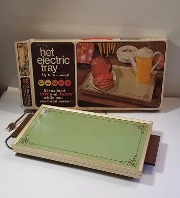 Hot Electric tray by Cornwall food warmer buffet plate 17 inches Avocado Green