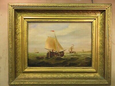Antique old Dutch Seascape oil painting  signed