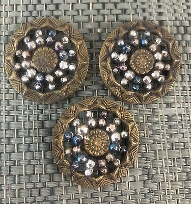 Lot Of 3 Large Antique Victorian Cut Steel & Brass Buttons