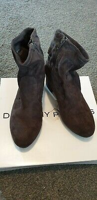 Dorothy Perkins Faux Suede Ankle Boots Grey Size UK 5 Eur 38