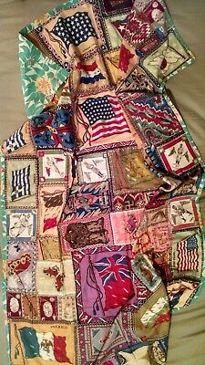 WWI Tobacco Felts Quilt 41 Star American Flag Baseball Players Cigarette Silks