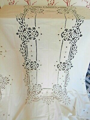 "IVORY COTTON EXTRA LARGE TABLECLOTH with TAPE or STRING LACE ~66"" x 100"""