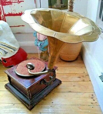 Vintage HMV Gramophone + Horn - Record Player Wind up Shop Window Theatre Prop