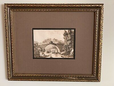 Antique Framed Graphic Etching Italy In Nice  carved Gilded Wood Frame 16x13