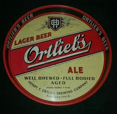 Vintage Ortlieb's Lager Beer Tray - Brewing Company Philadelphia PA